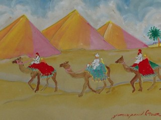 James Paul Brown: Three Pyramids and Camel Riders